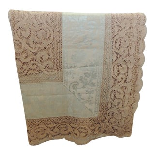 Bobbin Lace and Damask Bed Topper With Large Lace Center Panel For Sale