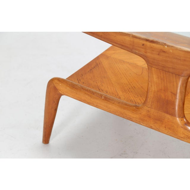 Mid-Century Modern Gio Ponti Coffee Table in Ash and Glass Top For Sale - Image 3 of 9