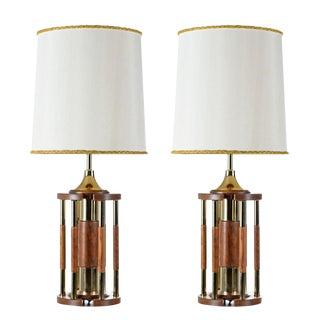 Solid Oak Brass Pillar Rotunda Table Lamps, Circa 1970s For Sale