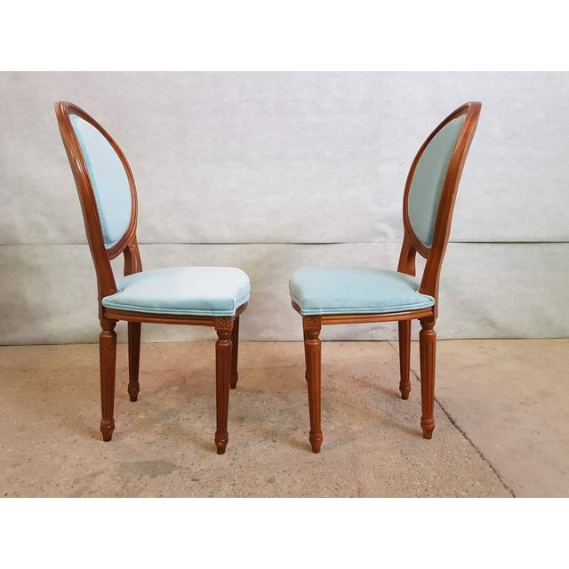 Early 20th Century Set of 6 Vintage French Reupholstered Blue Turquoise Louis XVI Medallion Dining Chairs For Sale - Image 5 of 13