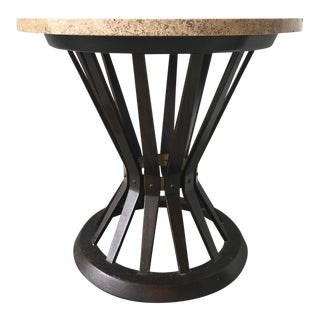 Dunbar Metal and Travertine Stone Side Table, Vintage For Sale