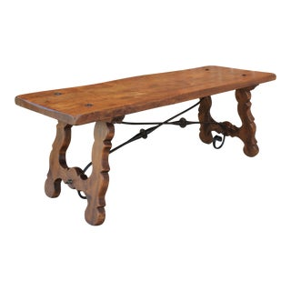 Antique Spanish Colonial Oak & Iron Catalan Style Coffee Table For Sale