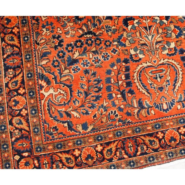 Textile 1920s, Handmade Antique Persian Sarouk Rug For Sale - Image 7 of 13