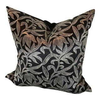 Custom Black and White Foliage Pattern Pillow With Solid Cotton Back For Sale