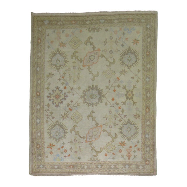 Square Antique Ivory Field Oushak Rug, 7'5'' X 9' For Sale