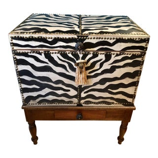 1950s Vintage Hand Painted Zebra Trunk For Sale