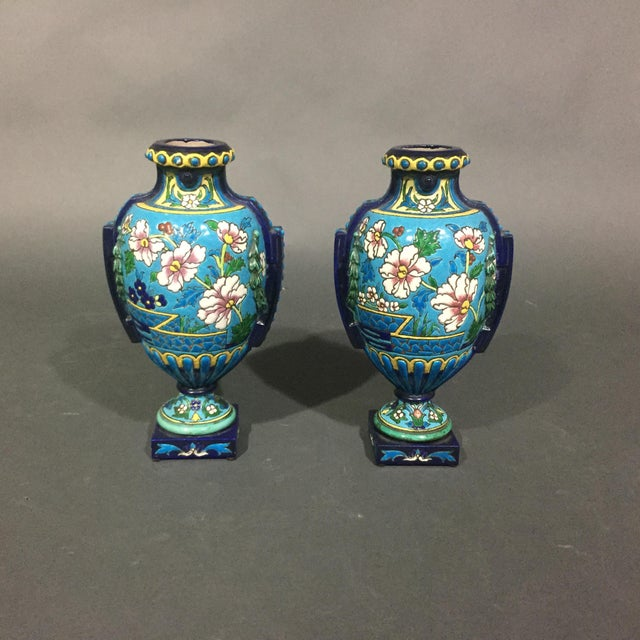 Pair of Emaux de Longwy Attributed Floral Enameled Vases, France For Sale - Image 10 of 10