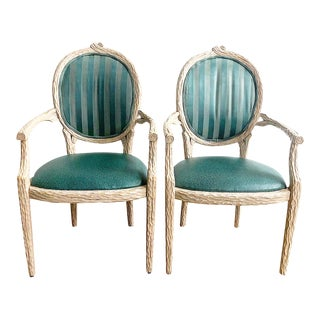 Vintage Pair of Faux Bois Arm Chairs