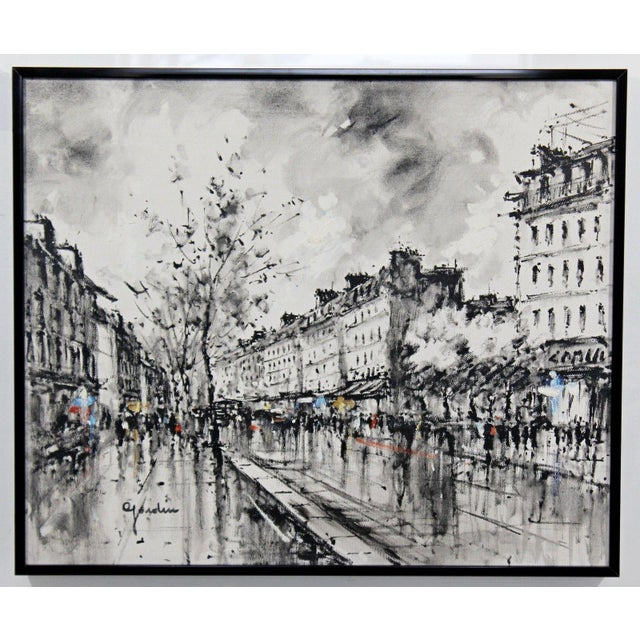 Mid-Century Modern Mid-Century Modern Framed Paris Street Scene Oil Painting on Canvas Signed For Sale - Image 3 of 11