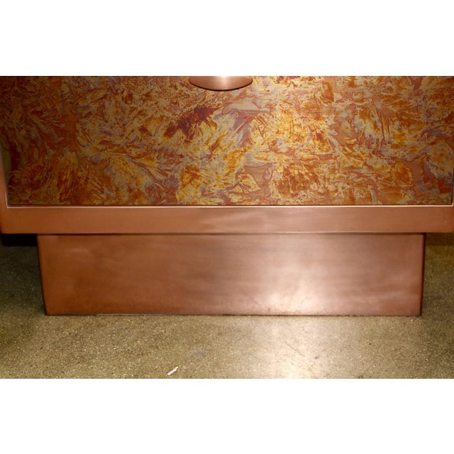 Patinated Copper Sheet Clad Nightstands or Chests - a Pair For Sale In Palm Springs - Image 6 of 13
