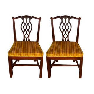 Vintage Chippendale Style Mahogany Dining Chairs - A Pair For Sale