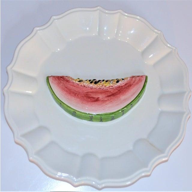Ceramic (Final Markdown) 1970's Majolica Italian Trompe l'Oeil Melon Plate For Sale - Image 7 of 7