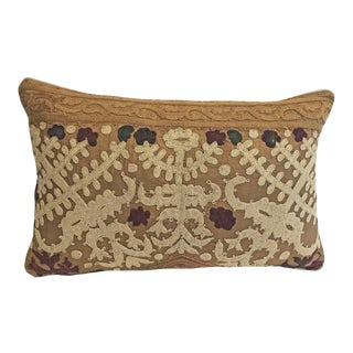 Vintage Embroidered Down Feather Lumbar Pillow For Sale