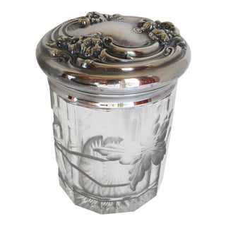 Art Nouveau Intaglio Cut Dresser Jar or Humidor With Silver-Plate Lid