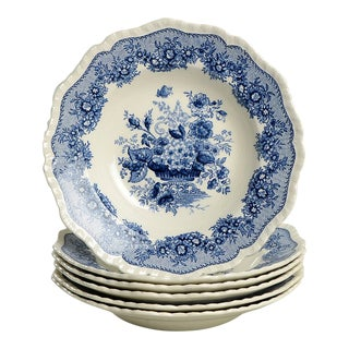 Mason's Ascot Blue Large Rim Bowl - Set of 6 For Sale