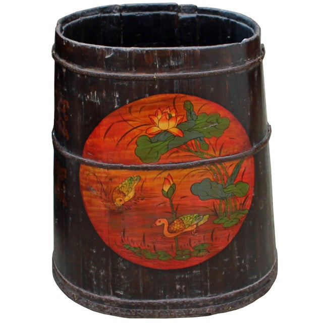 Distressed Chinese Tibetan Barrel Shape Black Floral Bucket Wood Container For Sale In San Francisco - Image 6 of 8