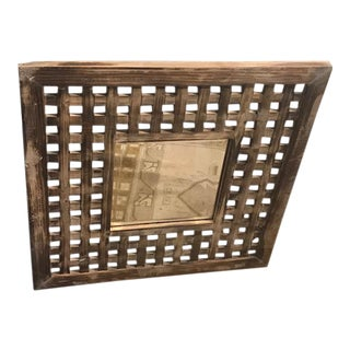 Pottery Barn Rustic Wooden Trellis Mirror For Sale