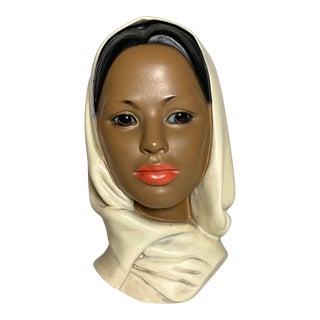 Signed Art Deco Ceramic African Women Bust Sculpture For Sale