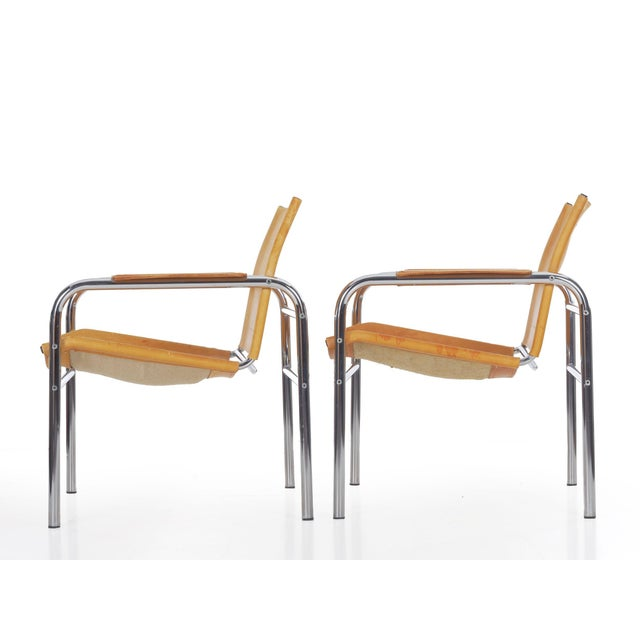 """Mid-Century Modern Circa 1970s Vintage Chrome and Leather """"Klint"""" Arm Chairs by Tord Bjorklund - a Pair For Sale - Image 3 of 13"""