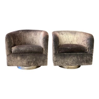 Pair of Milo Baughman Swivel Lounge Chairs For Sale