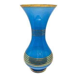 Vintage Gold Striped Blue Glass Vase