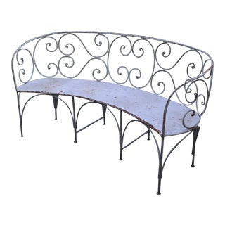 1920s Curved Iron Garden Bench For Sale