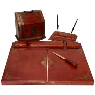 Vintage Red Italian Leather Desk Accessories For Sale
