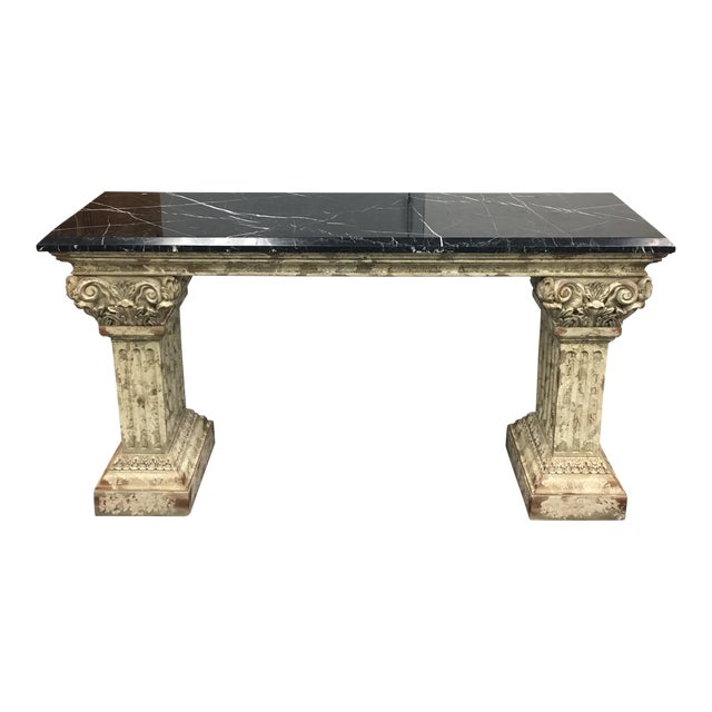 Console Table with Black Marble Top & Column Base - Image 1 of 8