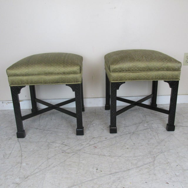 Pair vintage Chinese Chippendale Style stools. High quality. Newly re-painted. Small area of slight discoloration to...