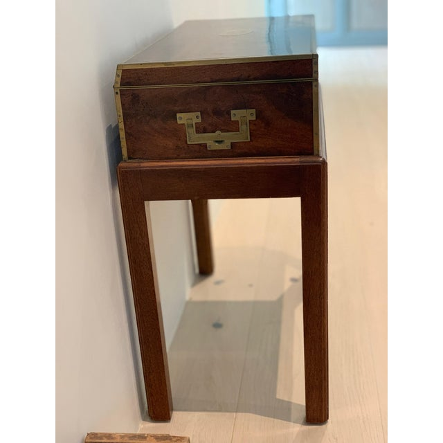 Campaign Antique Wooden Box on Custom-Made Stand For Sale - Image 3 of 13