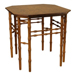 Burl Wood Top Faux Bamboo Vintage Side Table For Sale