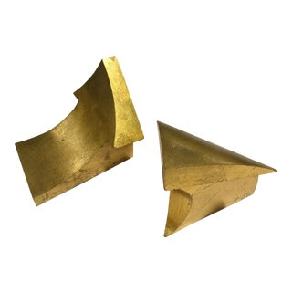 1970s 'Arrow' Mid-Century Curtis Jere Gold Leaf Bookends - a Pair For Sale