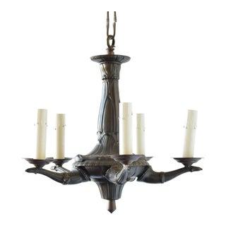 Small Art Deco Bronze Chandelier For Sale