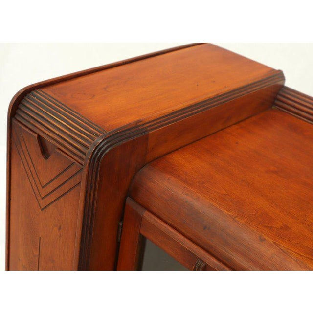Walnut Art Deco Waterfall Lift Top Compartments Bar Storage Sideboard Cabinet Bookcase For Sale - Image 7 of 11