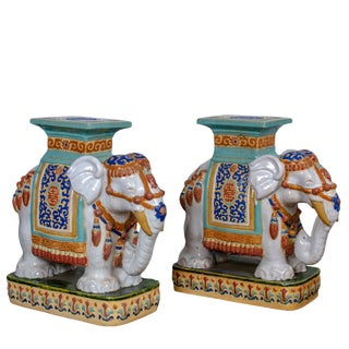 Vintage Ceramic Elephant Garden Seats - a Pair For Sale