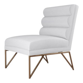 Paulo Slipper Chair - Brushed Brass Finish - Optic White Linen For Sale