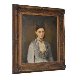 19th C. Portrait of an Elegant Woman w/ Fine Jewelry