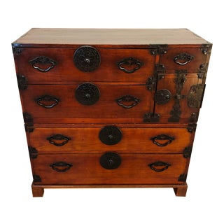 Two Piece Japanese Tansu Chest With Stand For Sale