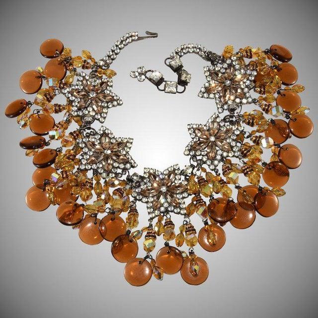 1970s Lawrence Vrba Huge Amber Glass Dangle Rhinestone Bib Necklace For Sale - Image 5 of 5