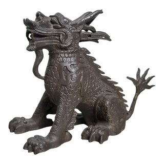 Chinese Qilin Iron Bronzed Statue For Sale