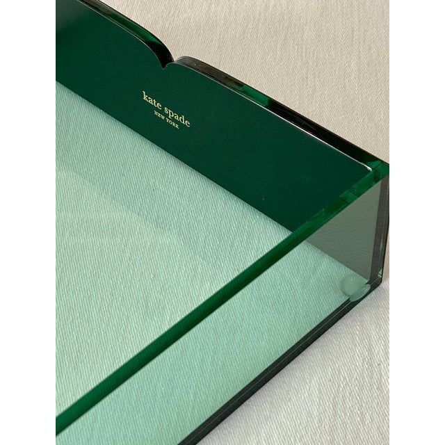 2010s Kate Spade Green Lucite Desk Tray For Sale - Image 5 of 11