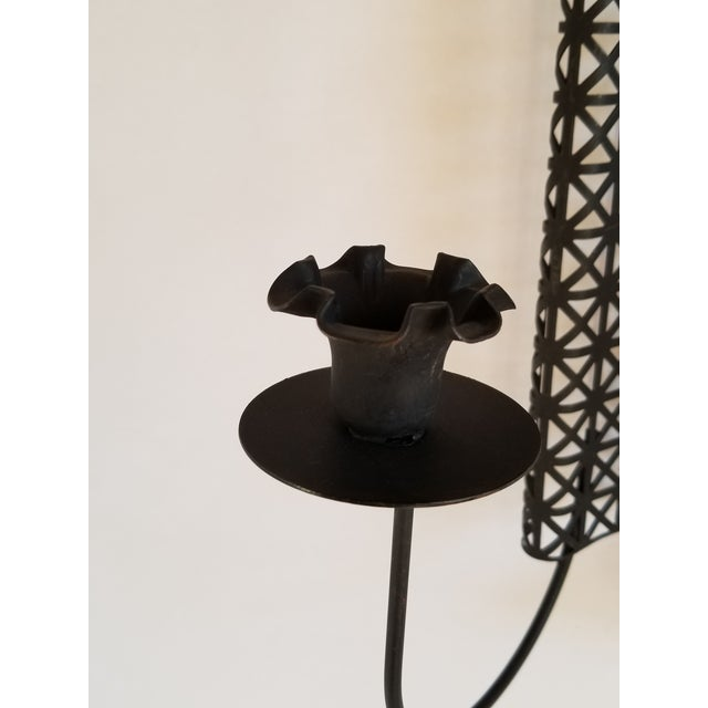 Black Mid Century Modern Wire Mesh Candle Holder & Shelf Set For Sale - Image 8 of 13