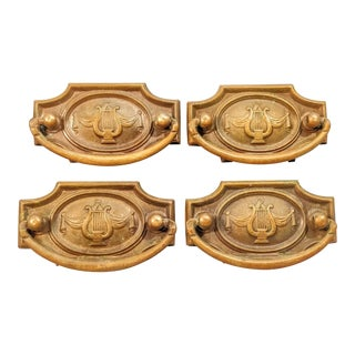 Vintage Festoons Greek Revival Neoclassic Brass Lyre Drawer Pull Hardware - Set of 4