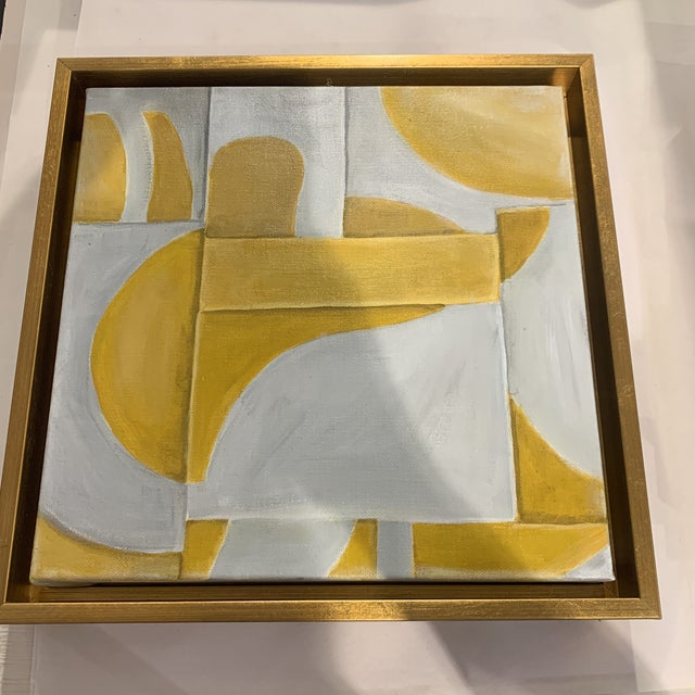 Custom Modern Abstract Yellow and White Painting from Houston Artist For Sale - Image 4 of 9