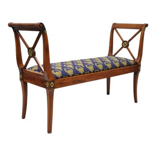 Maitland Smith Attr. Regency Style X-Form Window Hall Bench