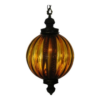 1960s Mid-Century Modern Large Amber Pendant Light Mid-Century Lighting Chandelier