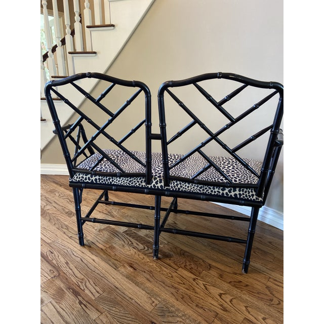 Chippendale Vintage Chinese Chippendale Style Faux Bamboo Bench For Sale - Image 3 of 4