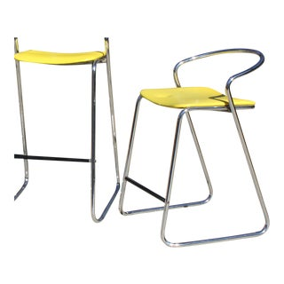 Italian Counter Stool in Polished Chrome by Hank Loewenstein For Sale