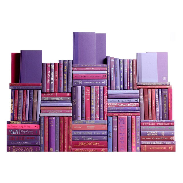 Modern Modern Berry Book Wall : Set of One Hundred Decorative Books in Shades of Purple For Sale - Image 3 of 3