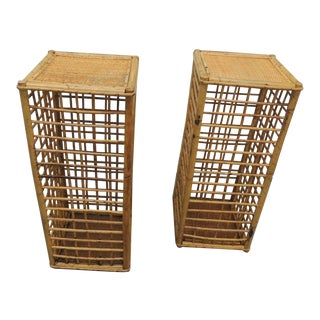 Vintage Square Bamboo and Rattan Drinks Tables - a Pair For Sale